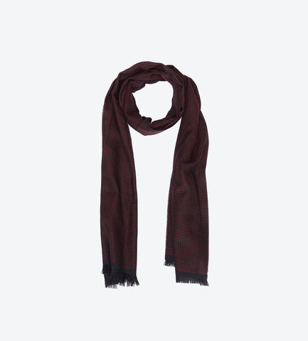Burgundy Black Herringbone Scarf