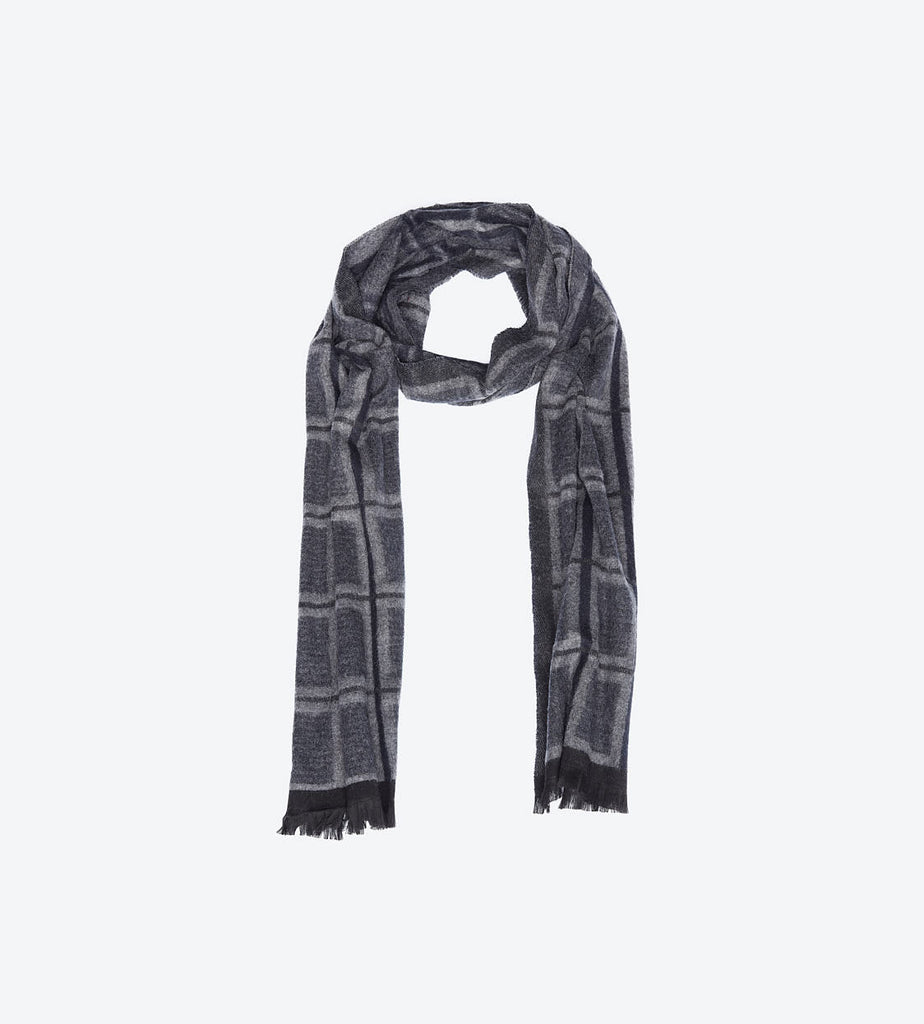 Navy Grey Windowpane Scarf