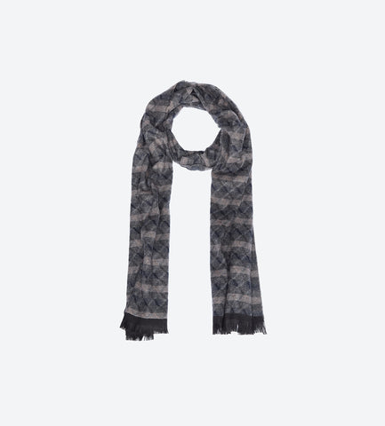 Brown Grey Navy Patterned Scarf