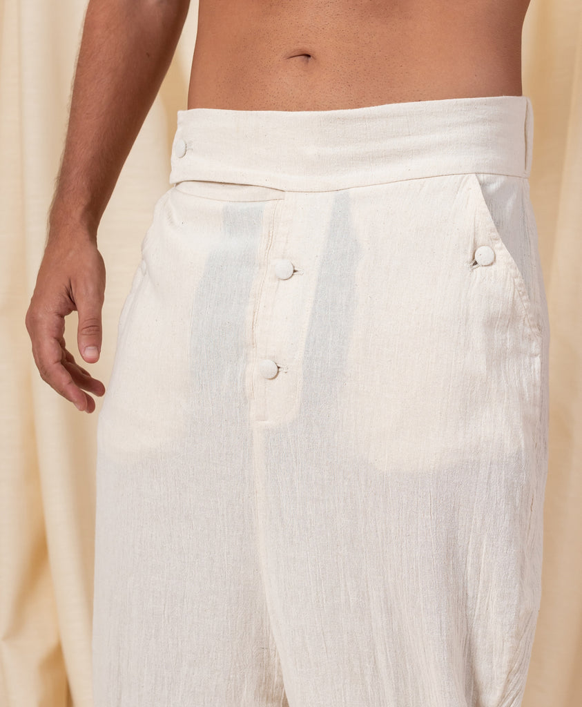 Ecru Bohemian Linen Button Pants