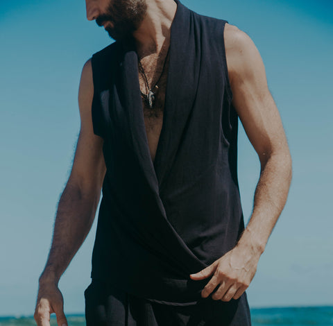 Black Bohemian Button Vest