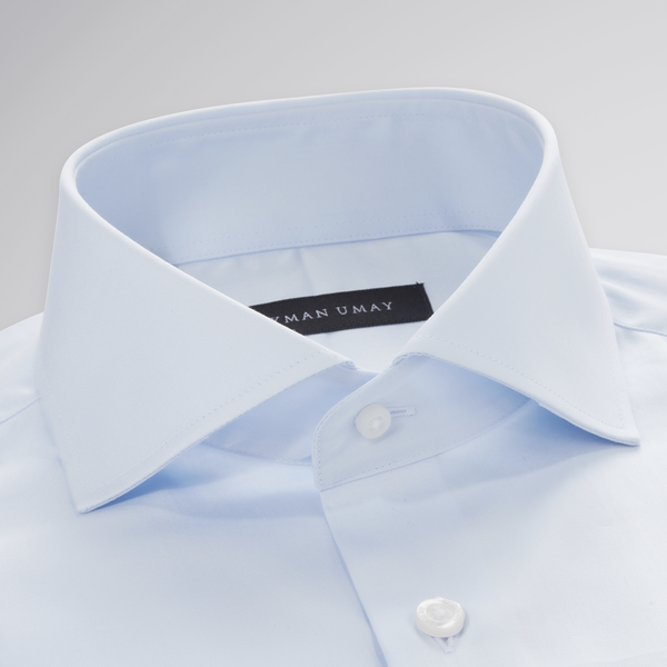 Blue Solid Cut-away Shirt
