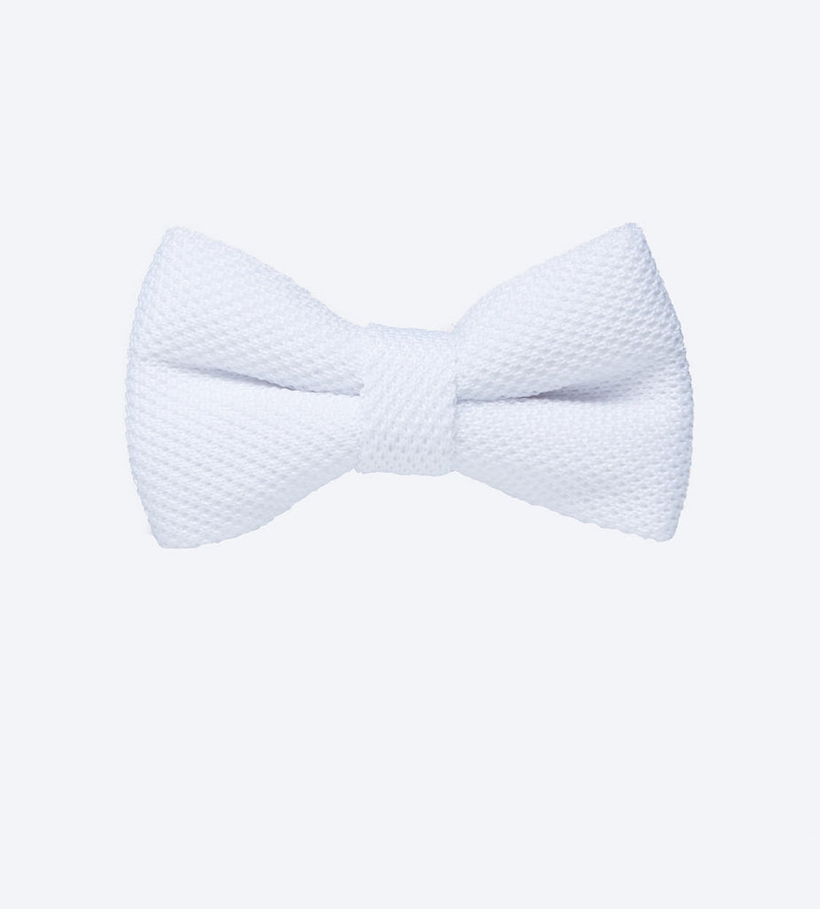 White Textured Bow Tie