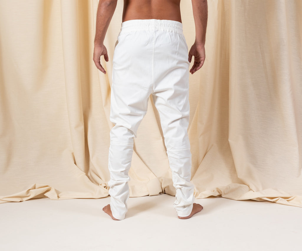 Bohemian White Cotton Zipper Pants
