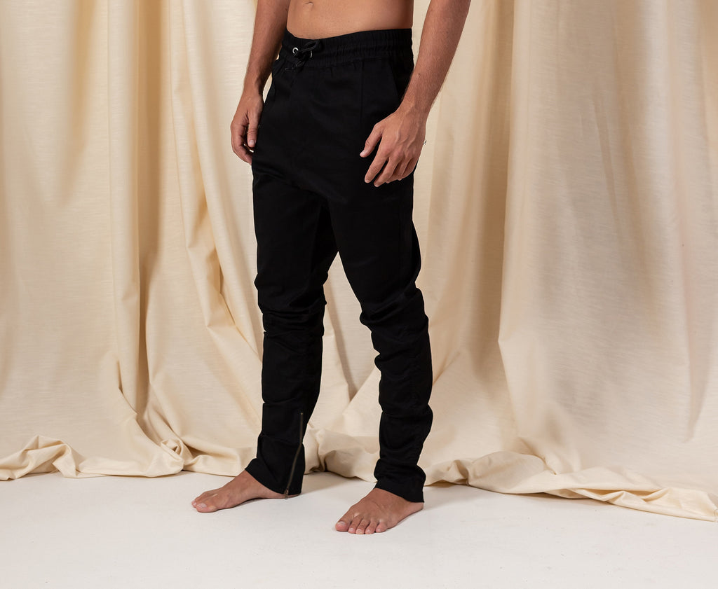 Bohemian Black Cotton Zipper Pants