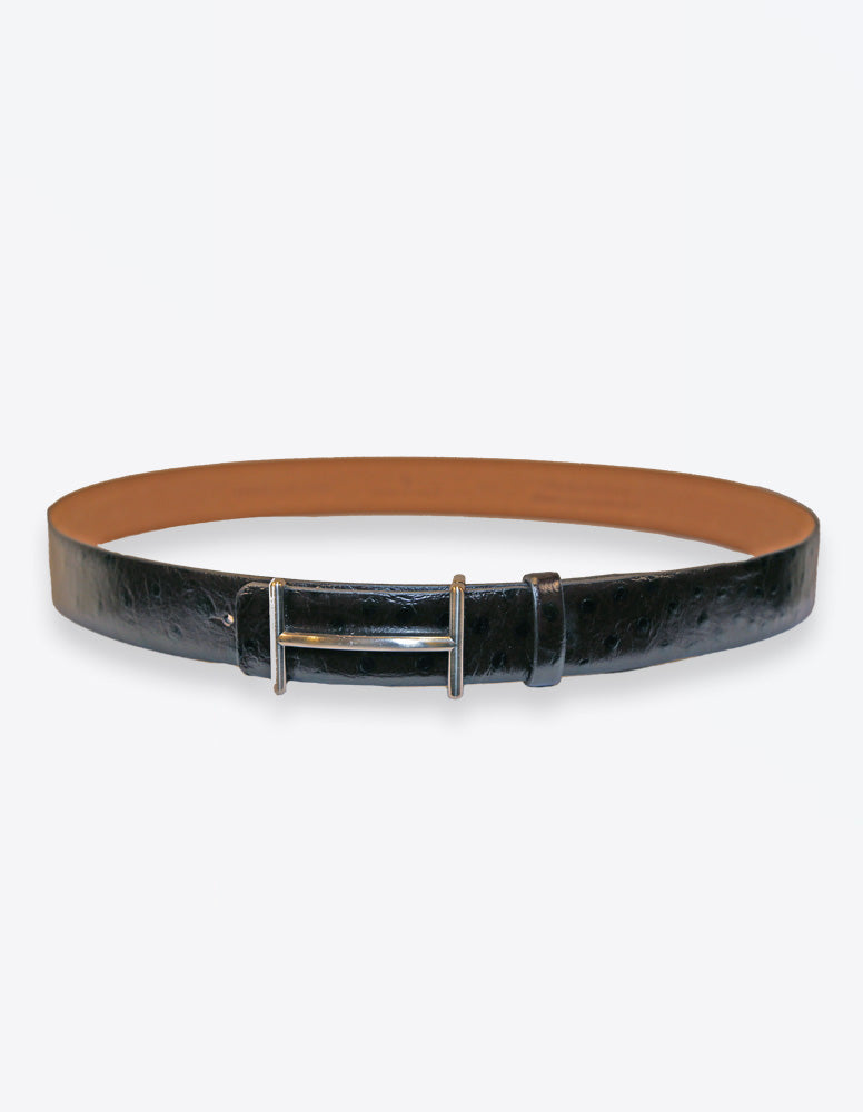 Ostrich Leather Black Belt
