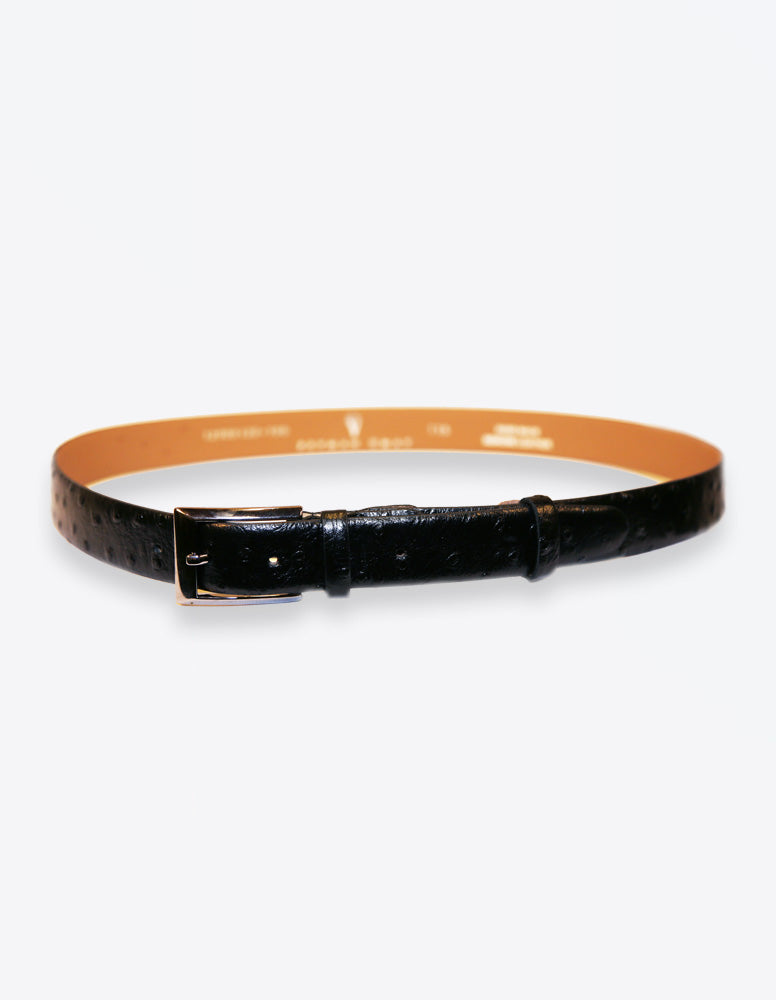 Ostrich Black Leather Belt