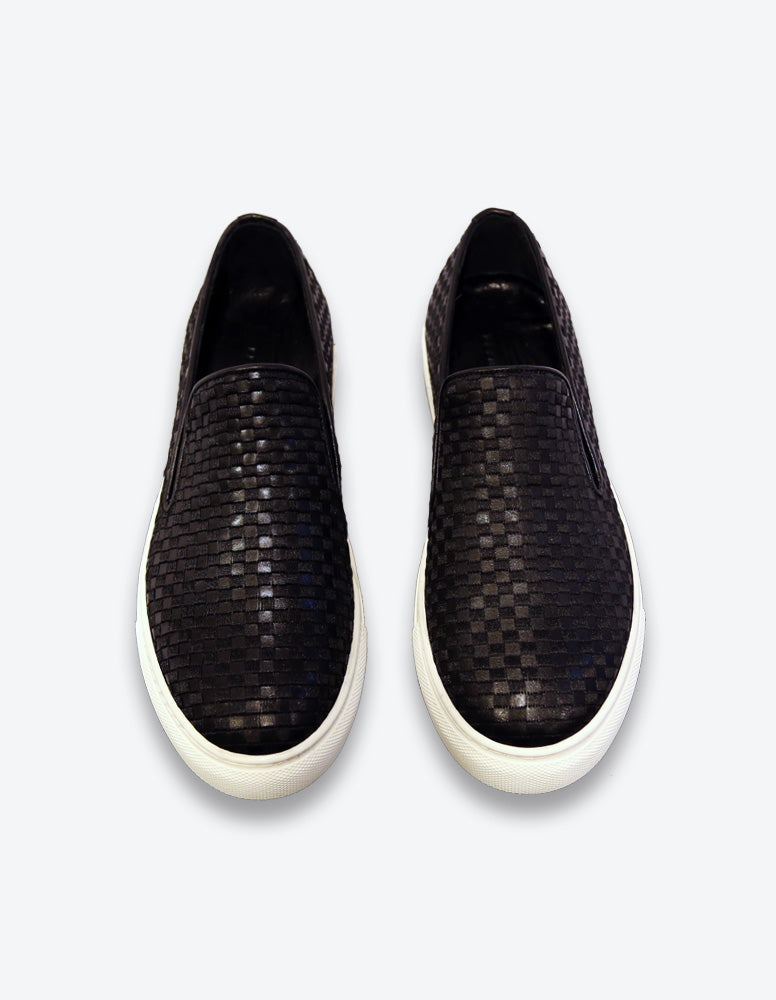Black Leather Slip On Shoes