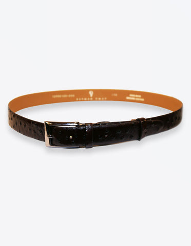 Ostrich Leather Chocolate Belt