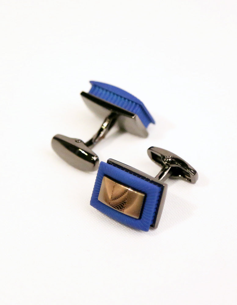 Blue Brown Rectangle Cufflink