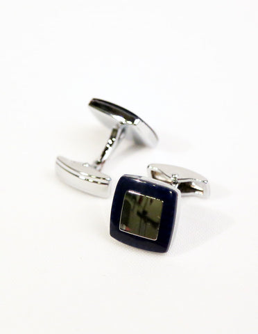 Navy Silver Square Cufflink
