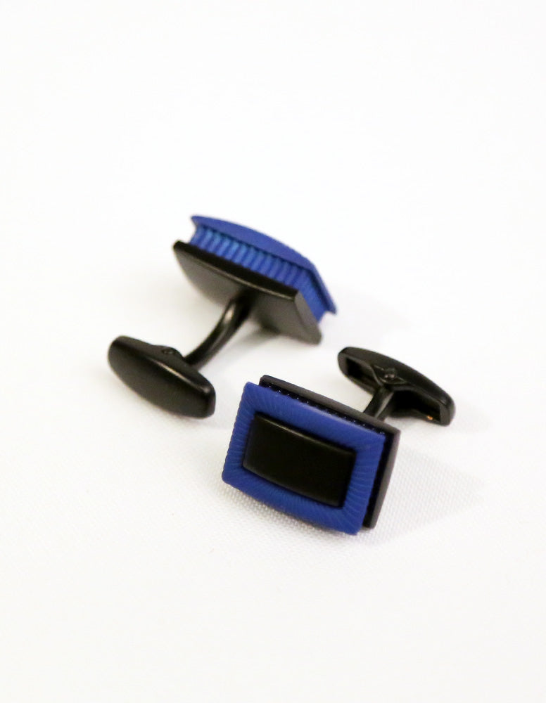 Blue Black Rectangle Cufflink