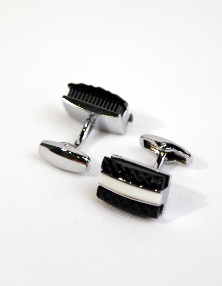 Black White Rectangle Cufflink