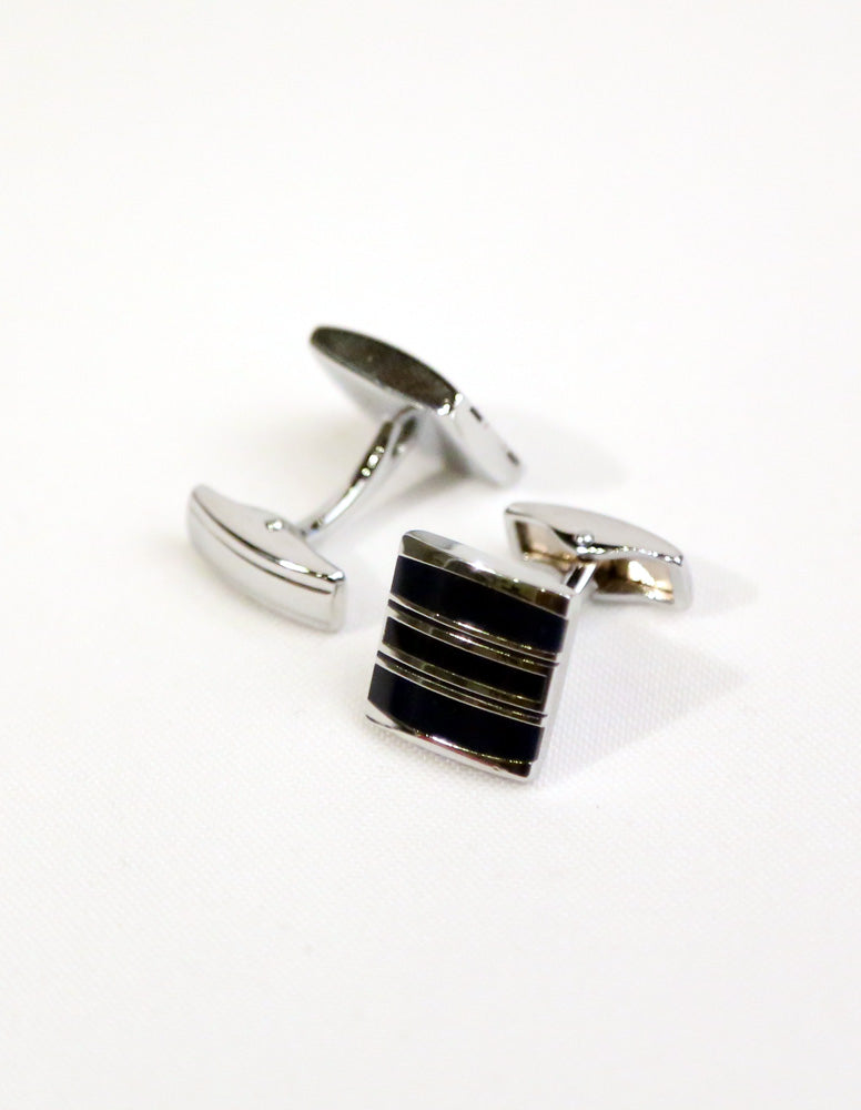 Black Silver Striped Cufflink
