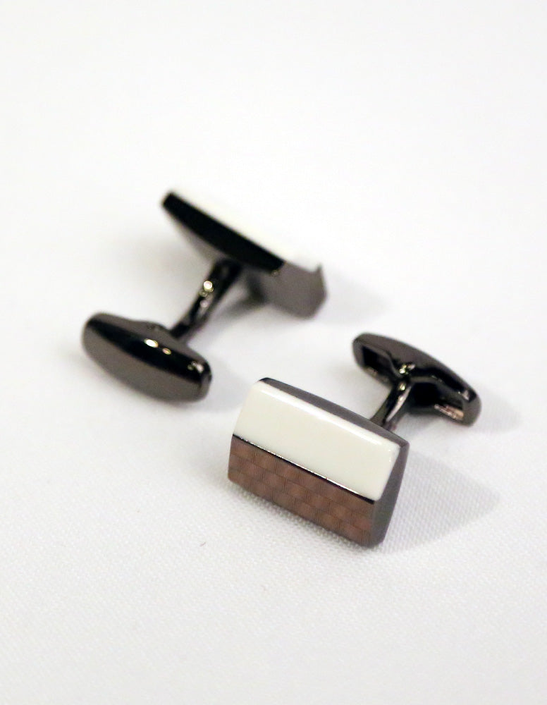 Brown White Rectangle Cufflink