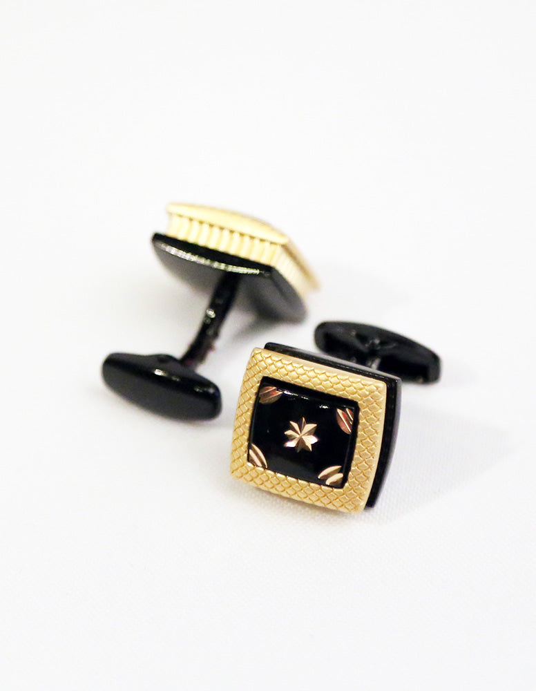 Gold Black Square Cufflink