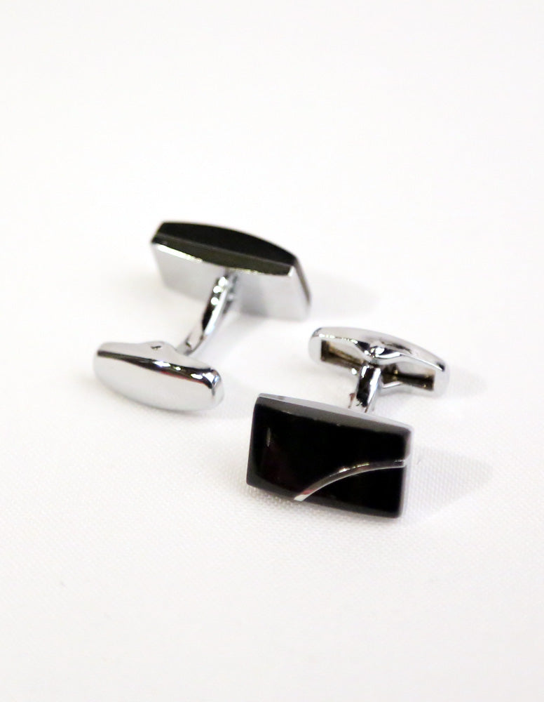 Black Silver Rectangle Cufflink