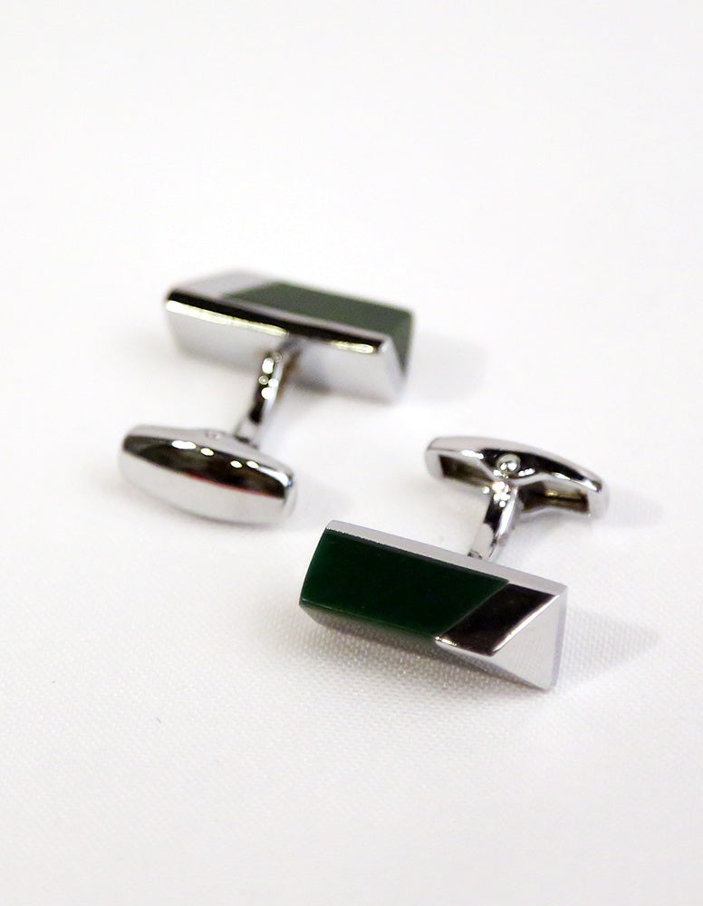 Green Silver Triangle Cufflink
