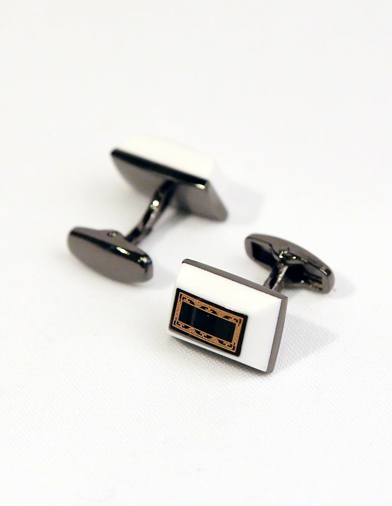 White Rectangle Cufflink