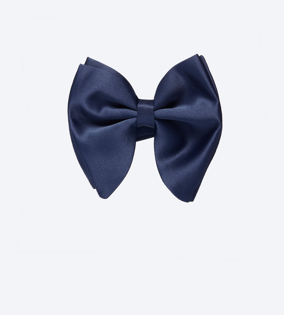 Light Navy Satin Bow Tie