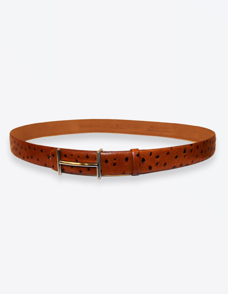 Tobacco Ostrich Leather Belt
