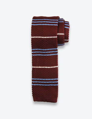 Burgundy Knit Striped Tie