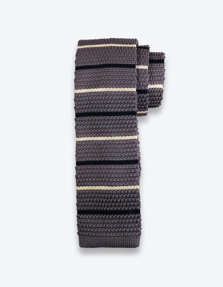 Gray Knit Striped Tie
