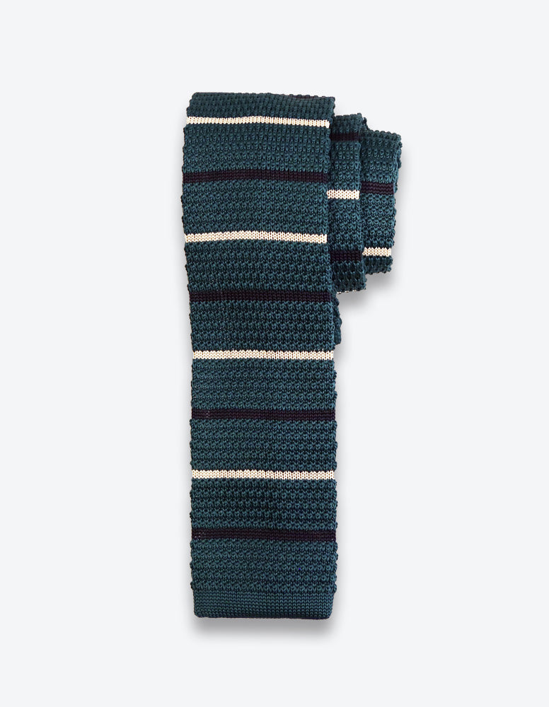 Green Striped Knit Tie