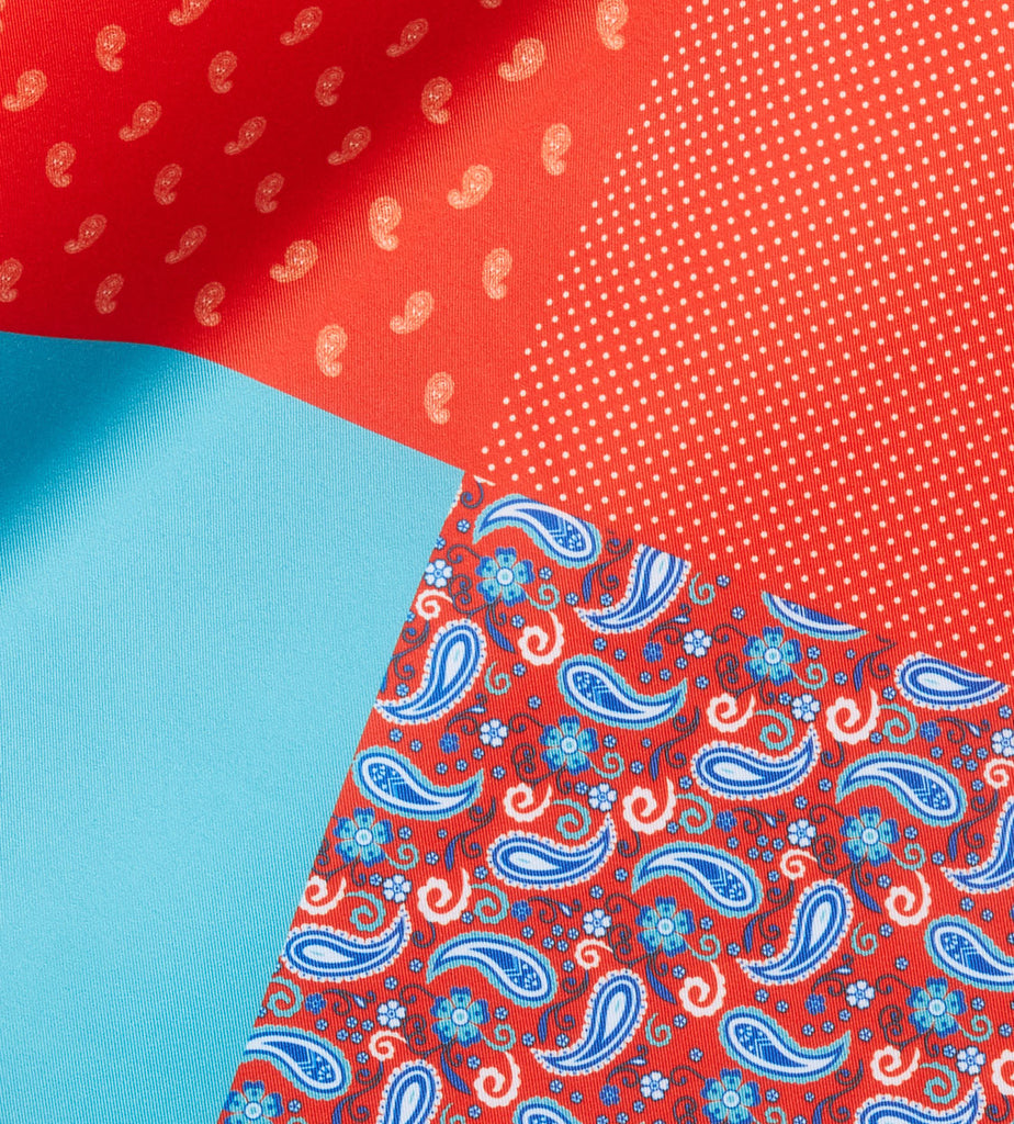 Red-Teal blue Paisley Pocket Square