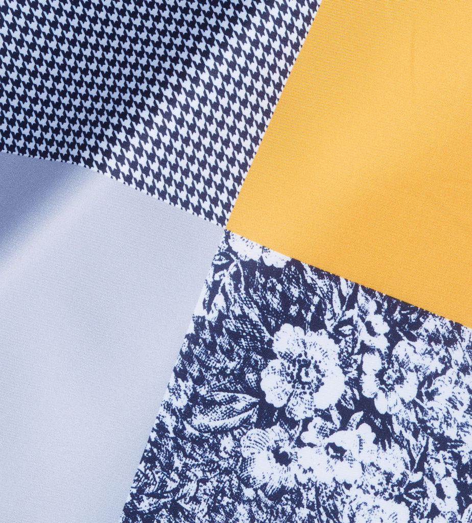 Yellow-Navy Floral Pocket Square