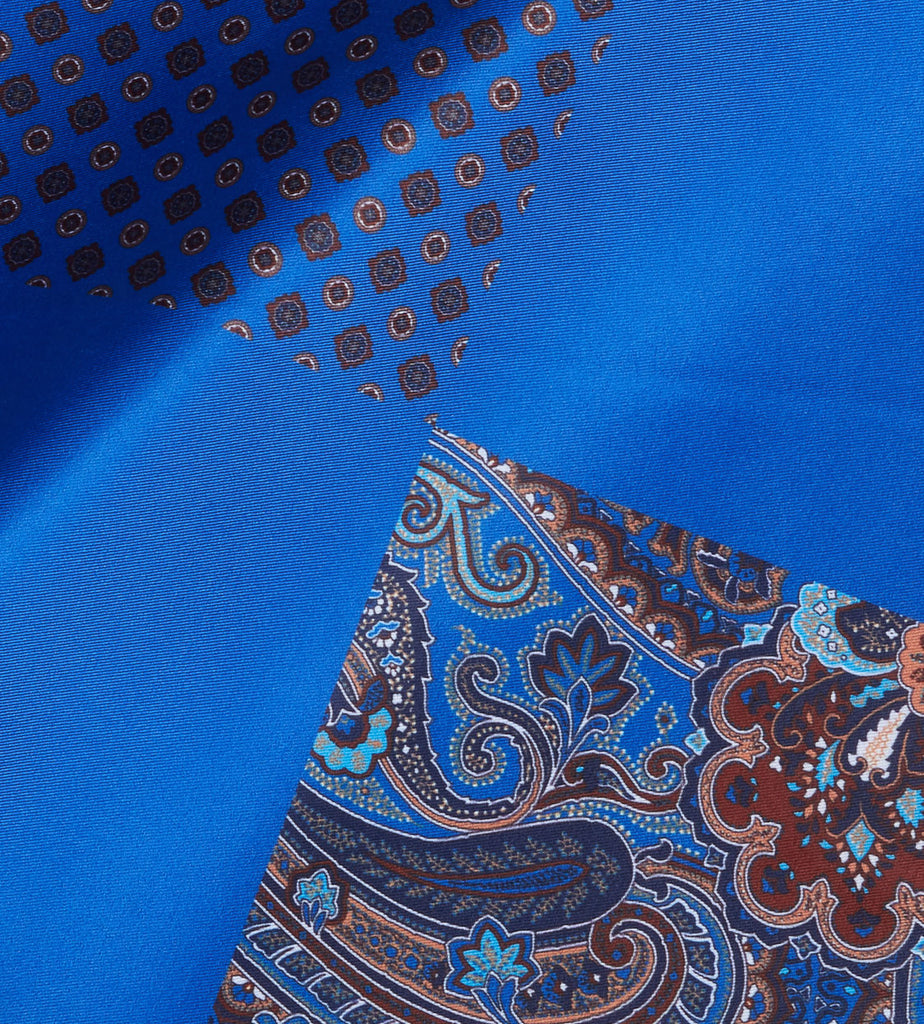 Blue-Brown Paisley Pocket Square