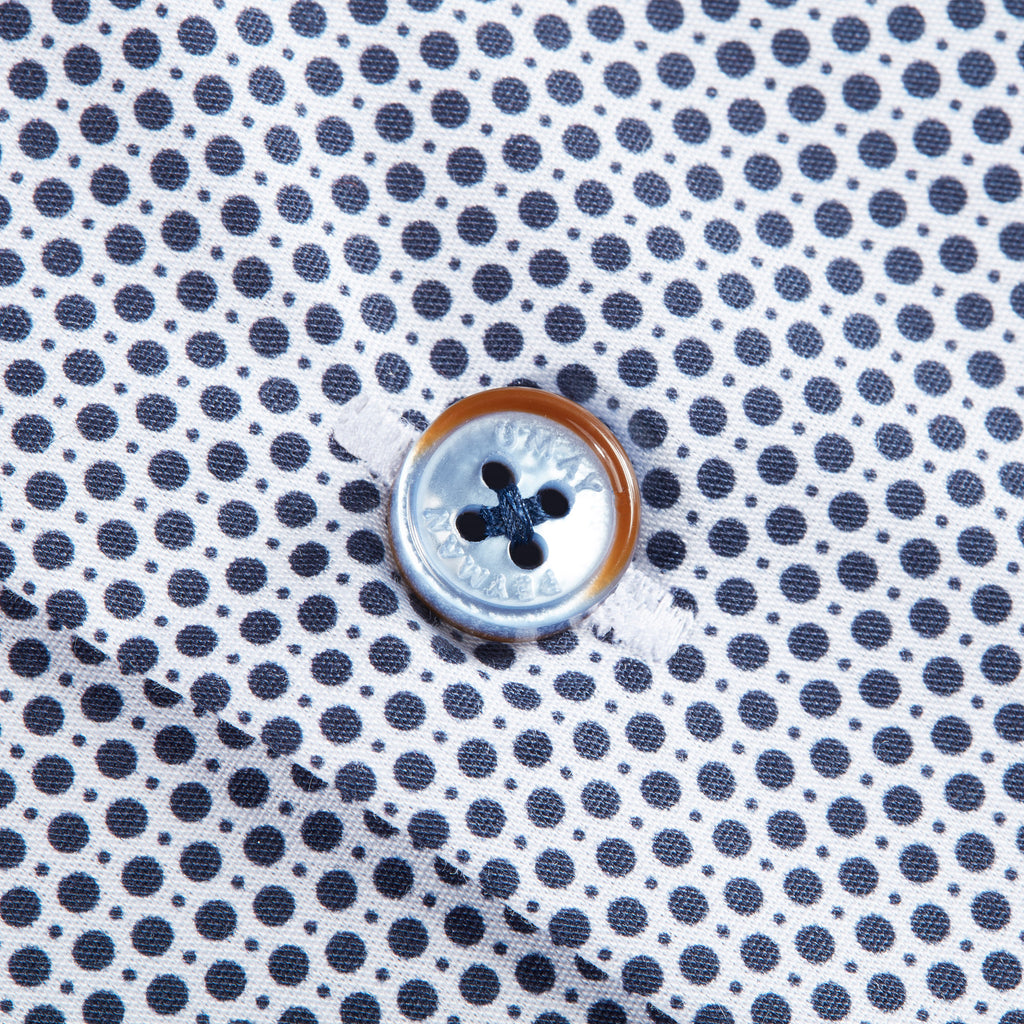 White Navy Polka Dot Shirt