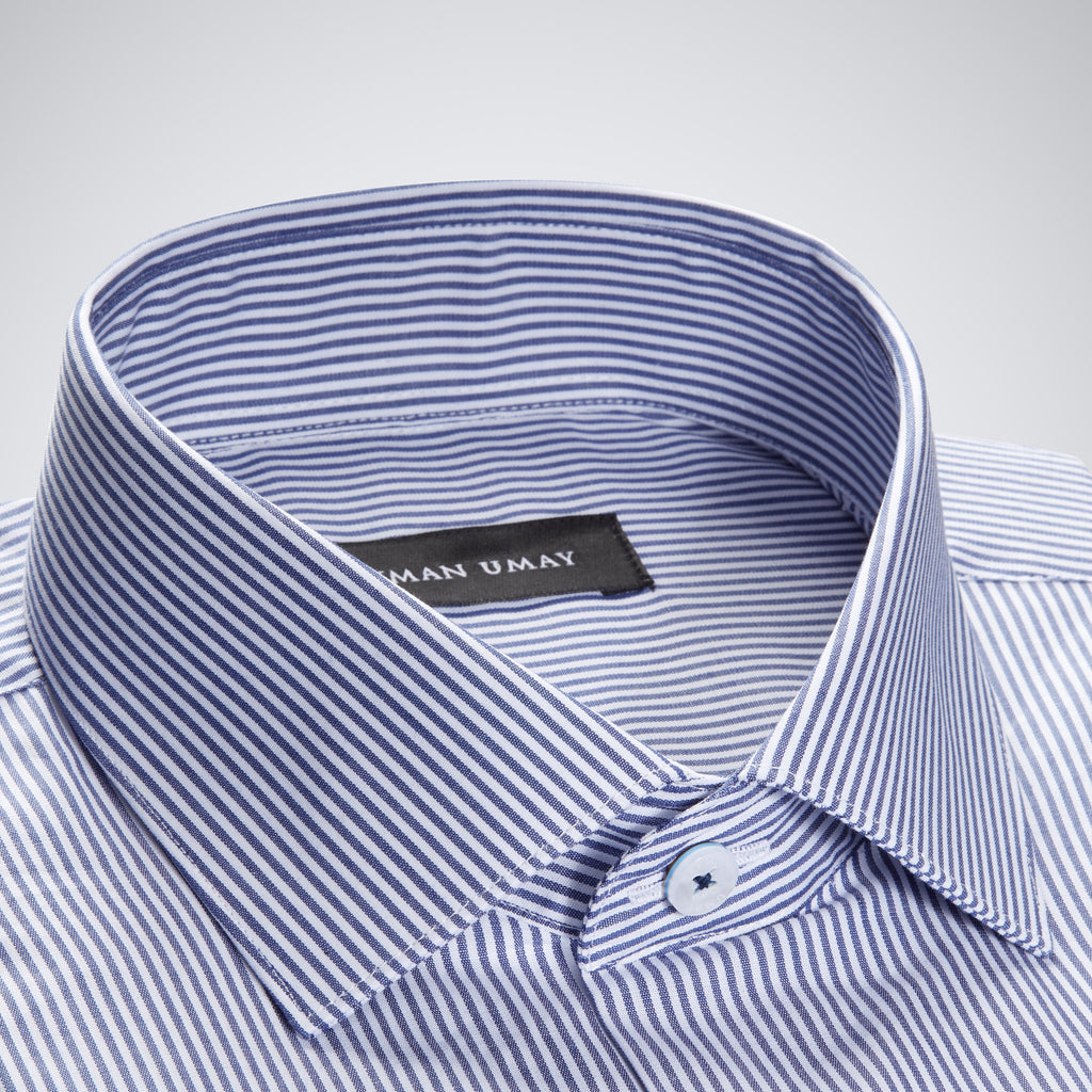 Dark Blue Pin Striped Shirt