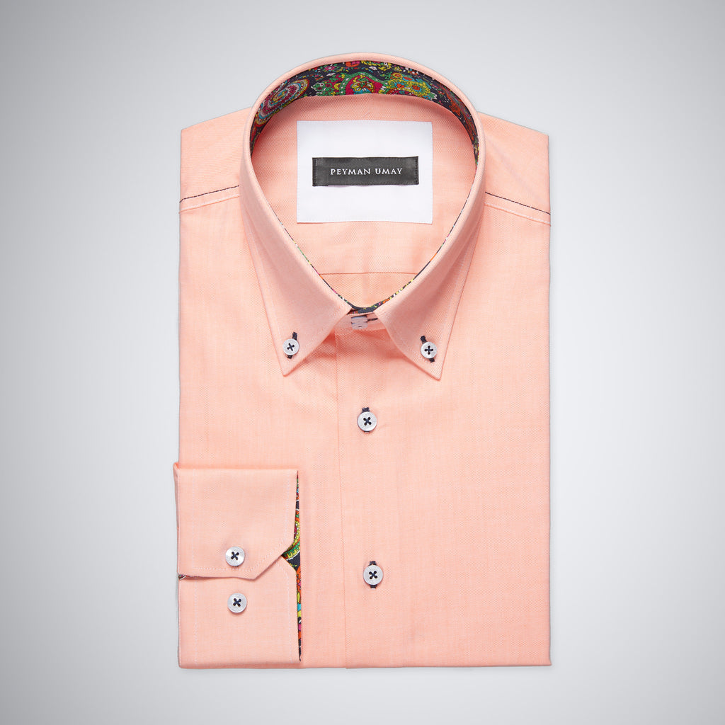 Peach Oxford Button-down Shirt