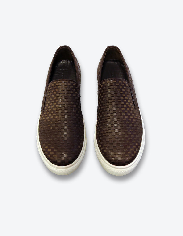 Brown Checkerd Leather Slip On Sneakers