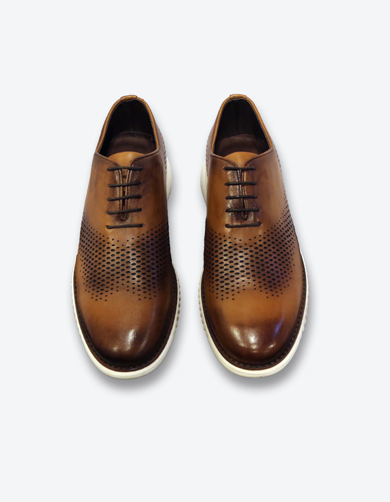 Tobacco Leather Lace Up Shoes