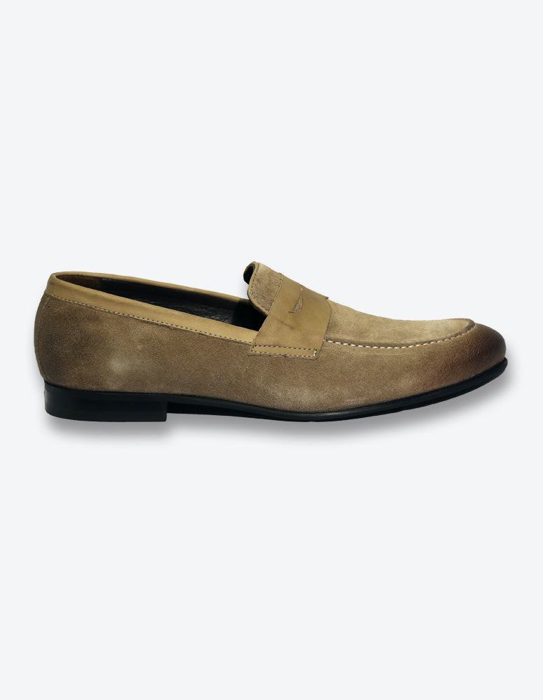 Beige Suede Loafer Shoes