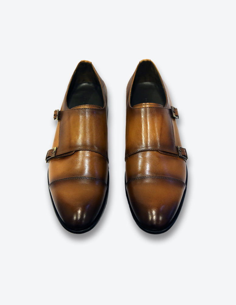 Tobacco Monk Strap Shoes
