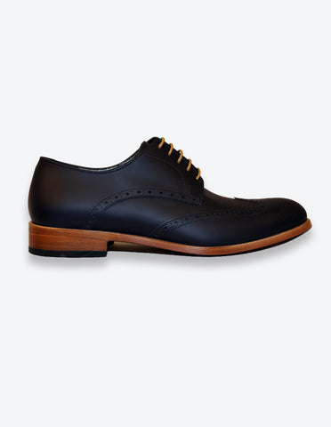 Matte Navy Leather Oxford Shoes