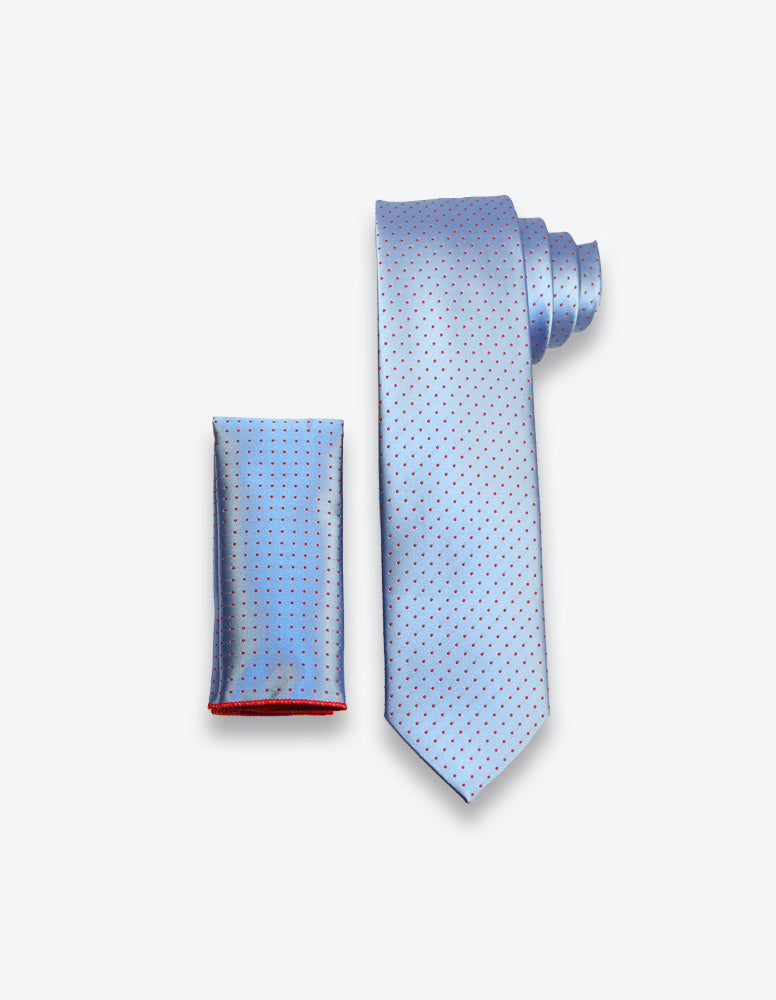 Blue-Red Polka Dot Tie
