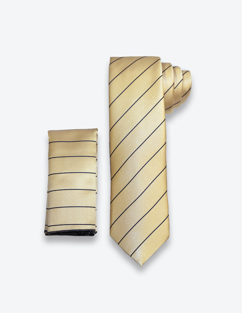 Gold-Navy Striped Tie