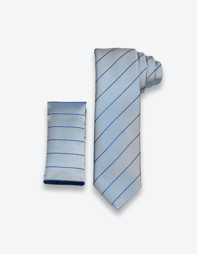 Gray-Dark Blue Striped Tie