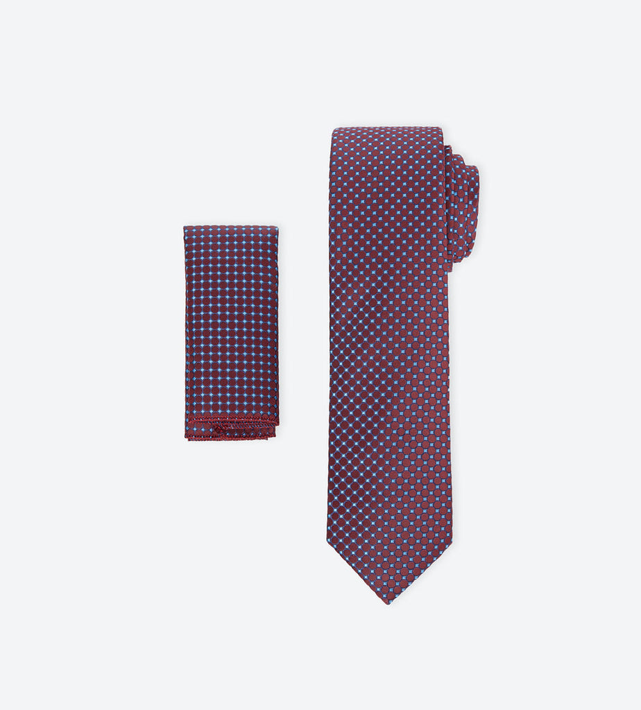 Burgundy-Blue Dotted Tie