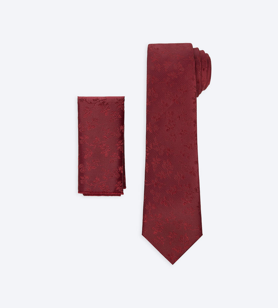 Dark Red Floral Tie