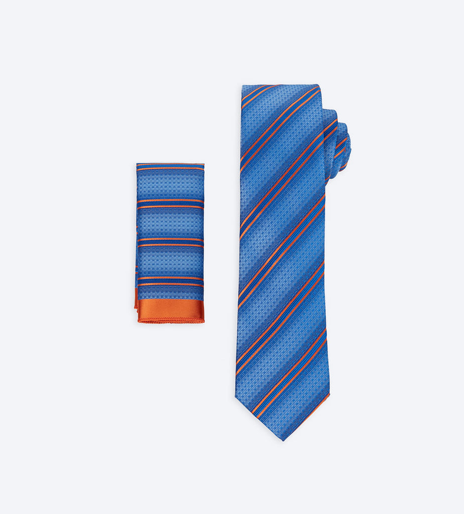 Blue-Orange Striped Tie