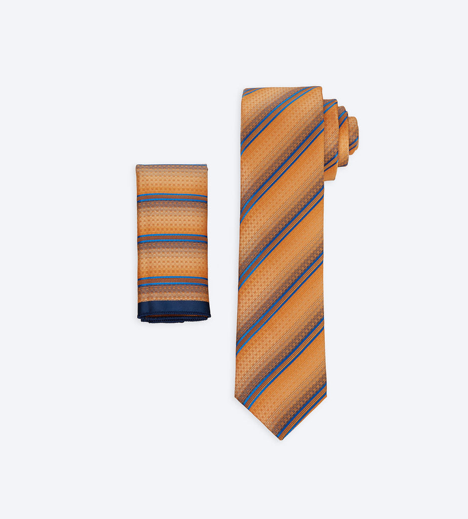 Orange-Blue Striped Tie