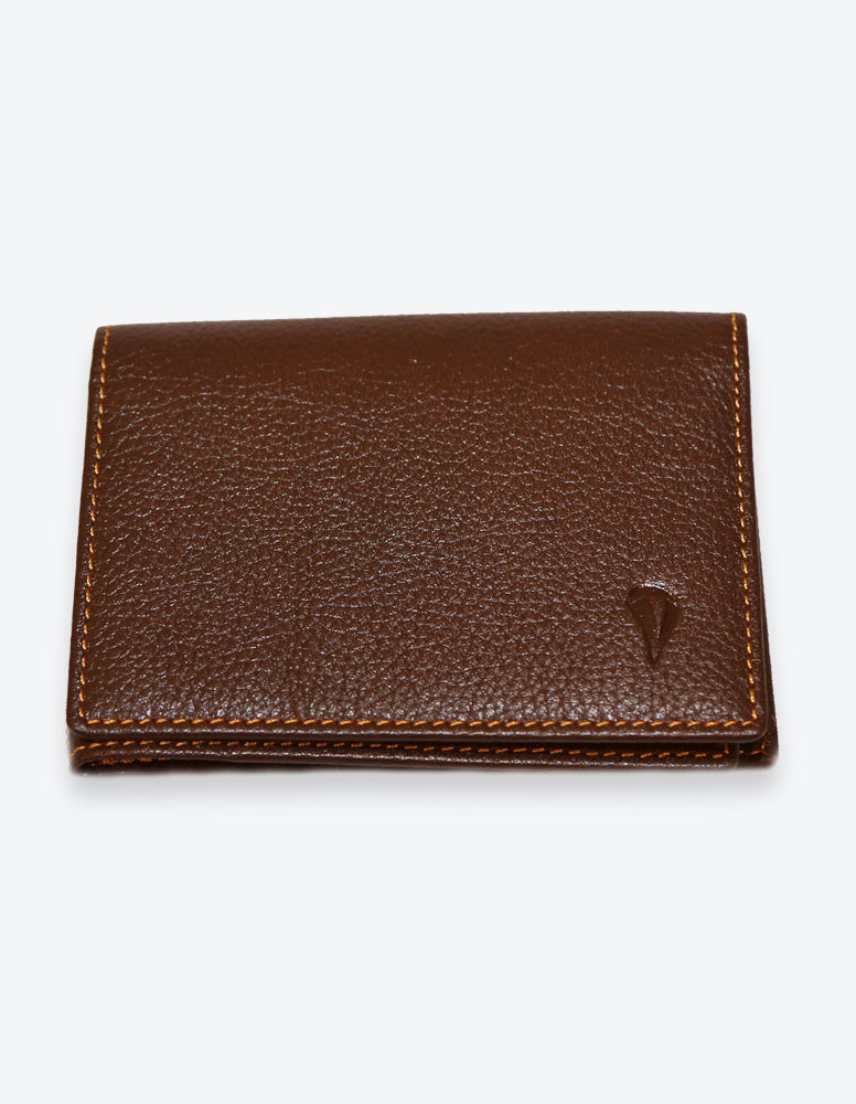 Brown Leather Wallet with Orange Interior