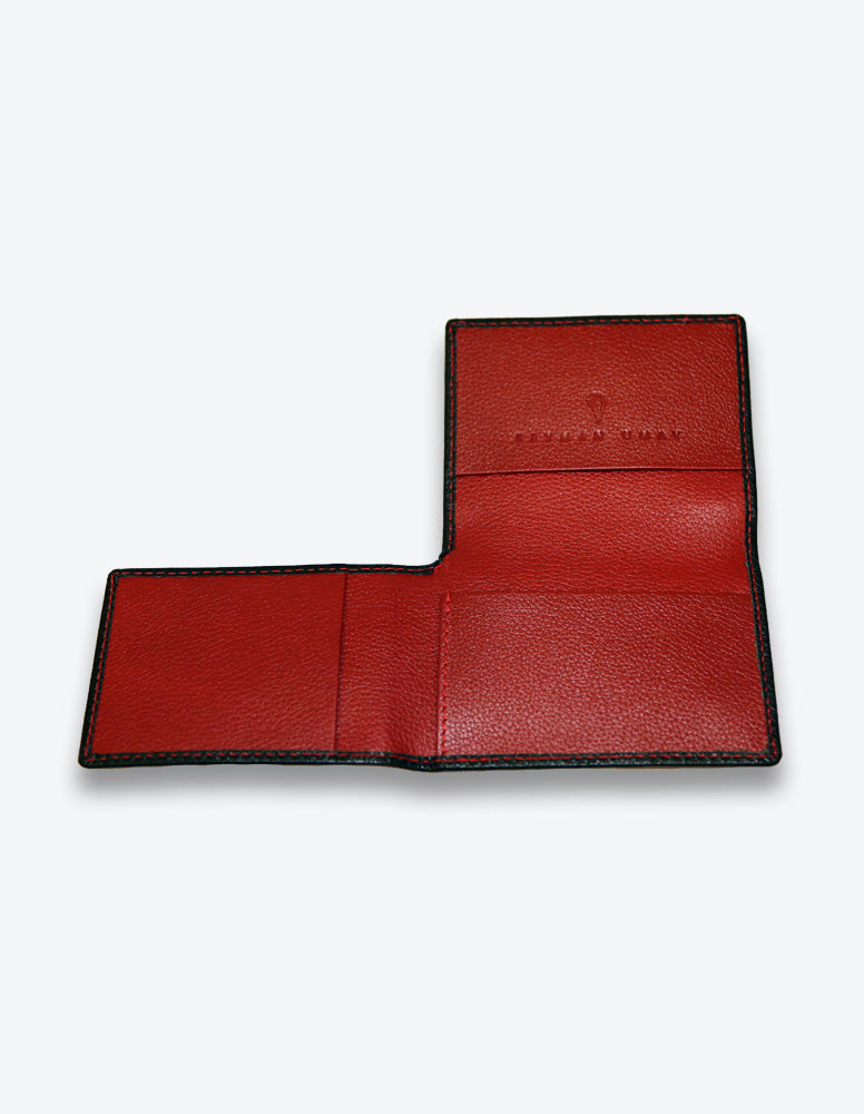 Black Wallet with Red Interior