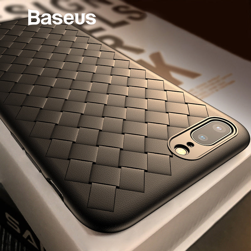 online store 3d01c 148a4 Baseus Phone Case For iPhone 8 7 6 s 6s Plus 8plus 7plus Luxury BV Weave  Grid Silicone Back Cover For iPhone x 8p Coque Fundas