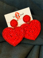 Red Heart beaded earrings
